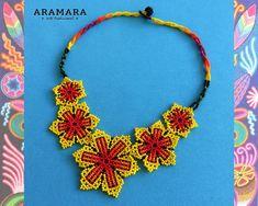 Flower Bracelet, Flower Necklace, Crochet Necklace, Colar Boho, Native American Earrings, Mexican Jewelry, Diy Crafts Jewelry, Big Flowers, Mexican Art