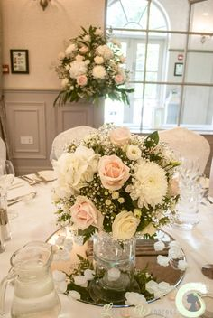 Blush pink and ivory table arrangement