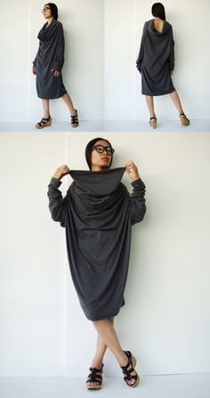 NO.101 Dusty Grey Cotton Jersey High Cowl Neck by JoozieCotton