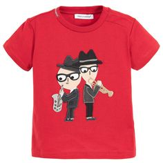 Dolce & Gabbana Baby Boys Red ''DG Family' T-Shirt at Childrensalon.com