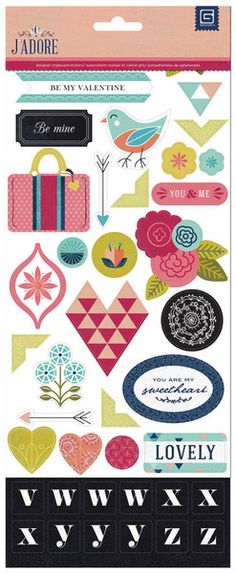 BasicGrey - J'Adore Collection - Printed Chipboard Stickers - Shapes and Alphabets at Scrapbook.com