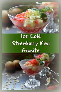 Ice Cold Strawberry Kiwi Granita ...red and green ... tart and sweet ... two amazing fruits that go so well together taste wise and color wise.