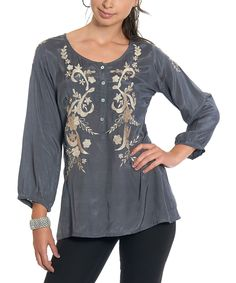 Luv2Luv Gray & Ivory Embroidered Button-Front Top | zulily