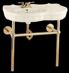Renovators Supply 15509 Console Sinks Bone China Southern Belle Sink Bistro Brass Legs 4""