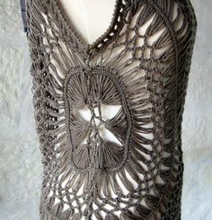 Stunning Hairpin Lace Crochet Top Vest