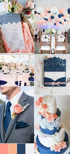 2017 navy blue and peach wedding color ideas