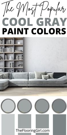 What are the best cool grays for painting walls? When it comes to painting, gray is by far the most popular paint color - whether it's for walls or cabinets. It adds depth and dimension to room. In this article, I share the best cool grays and coordinating accent walls. Neutral Paint Colors, Wall Paint Colors, Neutral Colour Palette, Painting Walls, Painting Cabinets, Diy Painting, Most Popular Paint Colors, Grey Hardwood, Grey Home Decor