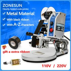 ZONESUN DY-8 Color Ribbon Hot Printing Machine Direct Thermal Foil Manual Stamp Printer Coding Machine Date Ribbon Coder #Affiliate
