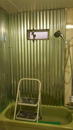 complete DIY mobile home transformation - sheet metal shower - after Mobile Home Renovations, Mobile Home Makeovers, Home Remodeling Diy, Remodeling Mobile Homes, Kitchen Remodeling, Small Shower Remodel, Tub Remodel, Diy Kitchen Remodel, Diy Bathroom Remodel