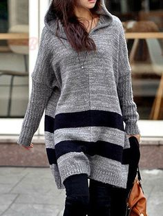 New Arrival Women's Loose Hooded Long Sweaters Women's Pullover - BuyTrends.com