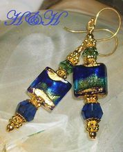 Murano Glass Foil Earrings In Cobalt and Green