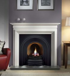 Wirral Fires Ltd trading as Fireplace Store Online - Crown Cast Iron Insert - Gallery Fireplace Collection, (www. Living Room With Fireplace, Home Living Room, Living Room Designs, Living Room Decor, Cottage Fireplace, Living Area, Concrete Fireplace, Fireplace Design, Fireplace Ideas