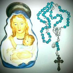 Teal rosary with silver Our Father beads.. For orders email me at mimiandlola@gmail