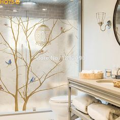 custom size stained static cling window film privacy frosted home decor vinyl glass stickers decals birds - Decorative Films