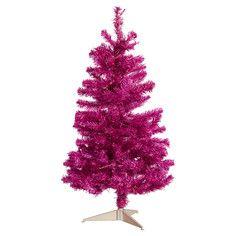 "Pre-Lit Tinsel Tree Pink 36"""