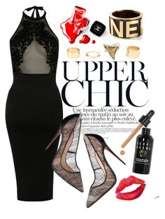 """""""Uber chic halter"""" by riamukherjee ❤ liked on Polyvore featuring Pilot, Bobbi Brown Cosmetics, Charlotte Russe, Chanel and halterdresses"""