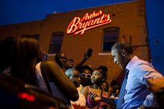 petesouza - Pres Obama talking to a youngster outside Arthur Bryant's BBQ tonight in KC 7/30/2014