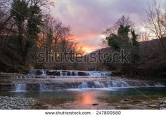 Natural waterfall of Metauro at the sunset, Marche - Italy. #Marche #Waterfall #Sunset #travel #tourism #Metauro #Italy #Europe #Landscape #Nature #ambient #Water #Amazing