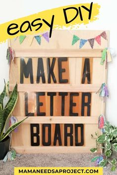 Learn how to turn a few pieces of scrap wood into trendy homemade decor with this easy tutorial on how to make a big letter board! How To Make Letters, Big Letters, Marquee Letters, Diy Living Room Decor, Family Room Decorating, Porch Decorating, Woodworking Tutorials, Woodworking Skills, Diy Letter Board