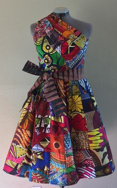 Reversible Patchwork One Shoulder Dress Rock Two Looks in 1 African Wax Print Multi Color Please Contact to Select a Reverse Print by WithFlare African Fashion Dresses, African Dress, Ankara, Vetements Clothing, Patchwork Dress, One Shoulder, Shoulder Dress, Green Print, Color Print