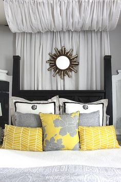 gray and yellow bedroom ideas | rated: Ikea Curtains: Upcycled ...