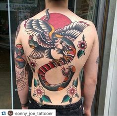 """Back piece in progress by Sonny Joe. Sonny has space to tattoo next week, to get booked in drop us a message or email """"skinsandneedles@http://goo.gl/aHyOE"""""""