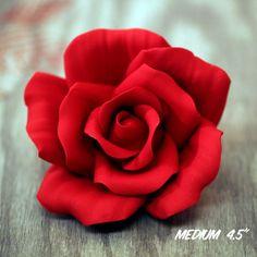 Large Red Open Gumpaste Rose handmade cake decoration. | CaljavaOnline.com #caljava #sugarflower #rose