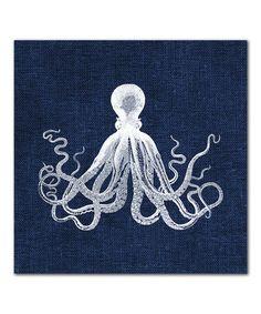 Look at this #zulilyfind! Octopus on Navy Linen Canvas Print #zulilyfinds