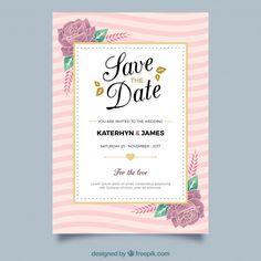 黄金の要素を持つ花結婚式の招待状 無料ベクター