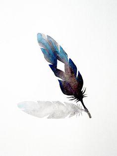 Feather  Shadow - Original Watercolor - Black - Blue - White - Geometric - Diamond