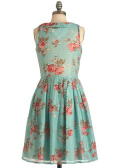 La Vie en Rosebuds Dress. You lead the type of life that's always budding with romance or adventure, but ensure that it's also blooming with fine fashion, too, by wearing this sleeveless frock by Knitted Dove! #blue #modcloth