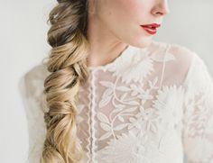Lace appliqué wedding dress by Rue De Seine