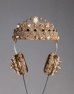 Dolce & Gabbana Napa Leather Rhinestone Headphones with Crown, $8,895; dolcegabbana.com