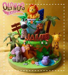 Trendy Party Kids Animals First Birthdays Jungle Birthday Cakes, Safari Theme Birthday, Animal Birthday Cakes, First Birthday Party Themes, Baby Boy 1st Birthday, First Birthday Cakes, Jungle Safari Cake, Jungle Theme Cakes, Safari Cakes