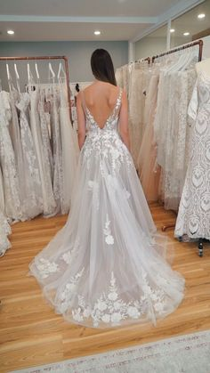 A-line V Neck Soft Tulle Lace Appliques Romantic Wedding Dress WEK060 #bohowedding #bohoweddingdresses #weddingdresses #weddingdress #weddings #weddinginspiration #beachwedding #vintagewedding #laceweddingdresses #rusticweddingdress #bridaldresses #vneck #applique