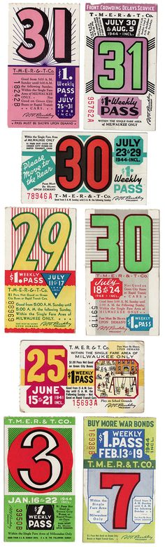 12 beautiful bus passes from the 1940ties