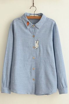 Plain Cartoon Embroidery Lapel Button Down Loose Long Sleeve Blouse, Fashion Style Blouses & Shirts Cool Outfits, Casual Outfits, Women's Casual, Long Skirt Fashion, Shirt Embroidery, Embroidery Motifs, Embroidered Clothes, Applique, Blouse Vintage