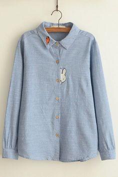 Plain Cartoon Embroidery Lapel Button Down Loose Long Sleeve Blouse