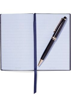 Smythson - Panama Busy Bee Textured-leather Notebook - Midnight blue - One size