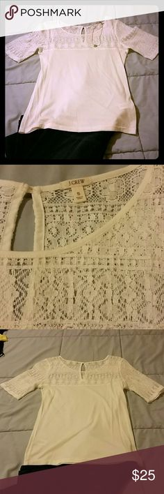 NWOT JCREW Short Sleeve Lace Tee Barely worn lace tee by JCREW  (not factory brand). No pilling or snags. J. Crew Tops Tees - Short Sleeve