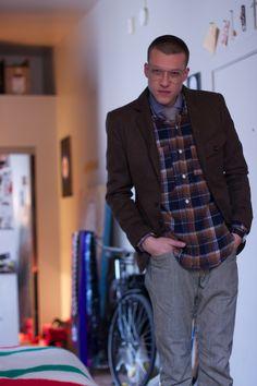 iainsfashiondujour.blogspot.com  wears - Glasses vintage - Jacket Operations - Overshirt Engineered Garments - Shirt Caliban - Tie Oliver James - Jeans The Stronghold