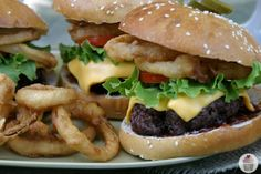 Cowboy-Burgers and easy homemade onion rings