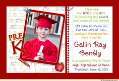 This adorable little boy is sharing his accomplishment on this pre-K graduation photo announcement design! Cute crayons, apples & stars surround your photo