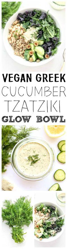 Vegan, Gluten Free. 'Greek Cucumber Tzatziki Glow Bowl'. Refreshing, simple and bright! Kale, quinoa, white bean & cucumber bowl, plus a Dairy-Free, Lemony Dill Cucumber Tzatziki Sauce. #vegan #greek #bowl #tzatziki