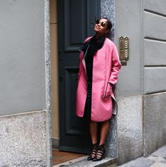 "Tamu McPherson looking pretty in pink and Oscar Tiye ""Casandra"" cut-out booties. Photo: All The Pretty Birds"