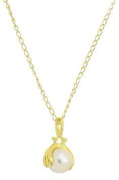 Gargantilha folheada a ouro e pingente c/ pérola sintética de 10 mm