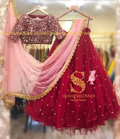 Stunning maroon color skirt and top with blush pink color net dupatta. Lehenga and blouse with hand embroidery stone or kundan work. Call /watsapp for details Kids Lehenga Choli, Half Saree Lehenga, Lehnga Dress, Bridal Lehenga Choli, Sarees, Indian Reception Dress, Party Wear Indian Dresses, Indian Bridal Outfits, Ceremony Dresses