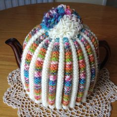 Your place to buy and sell all things handmade Tea Cosy Knitting Pattern, Tea Cosy Pattern, Hand Knitting, Knitting Patterns, Crotchet, Knit Crochet, Knitted Tea Cosies, Pastel, Tea Cozy