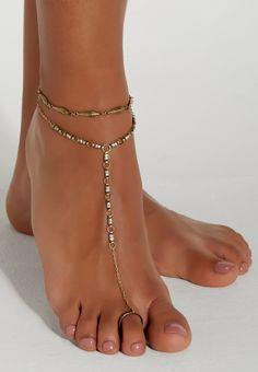 goldtone foot chain with rhinestones