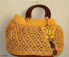 borsa gialla crochet
